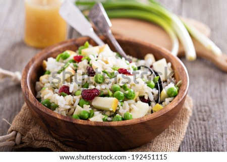 Salad with rice, apple, cranberry and peas in a bowl - stock photo