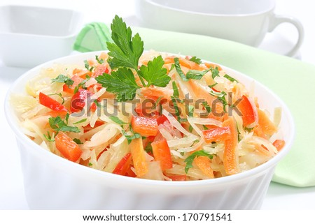 Salad with sauerkraut, carrots and paprika