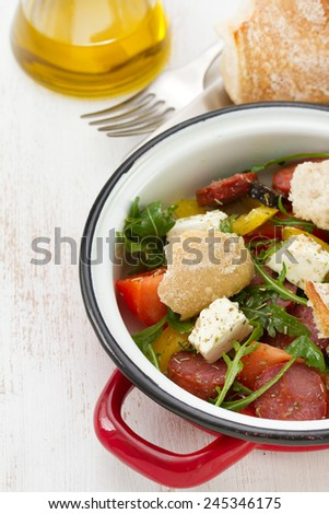 salad with sausages and bread - stock photo