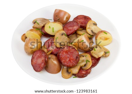 salad with sausages on the russian traditional salad potato salad