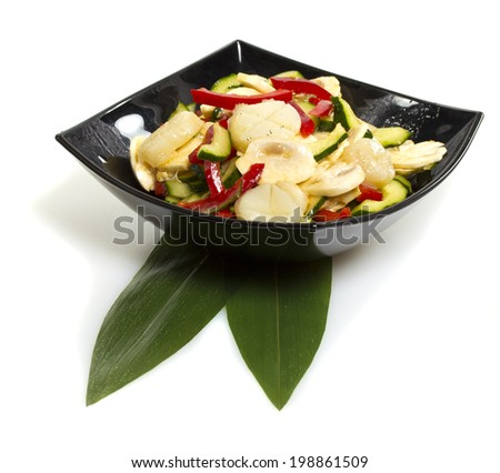 salad with scallop isolated on white background