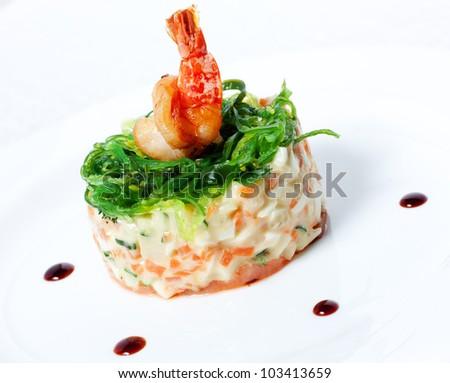 Salad with seafood. - stock photo