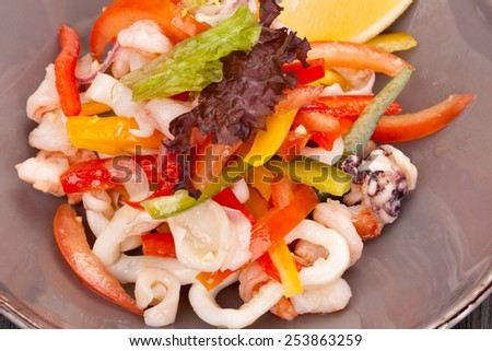 Salad with seafood - stock photo