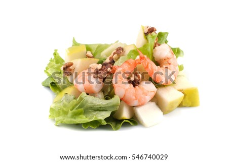 Salad with shrimp on a white background