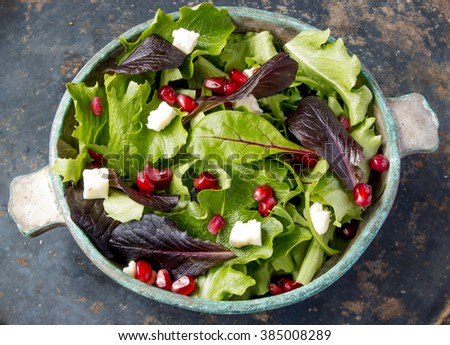 Salad with spinach leaves, pomegranate and camembert cheese, closeup angle