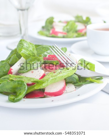 Salad with spinach, radish and green onion in the olive oil