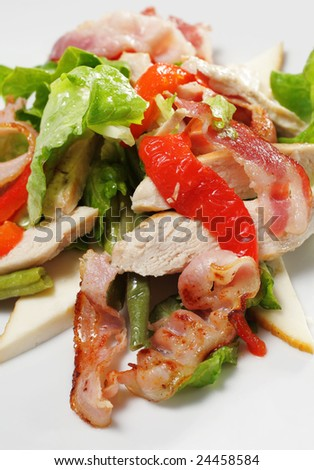 Salad with Thin Meat, Vegetable Leaf, Bean and Cheese