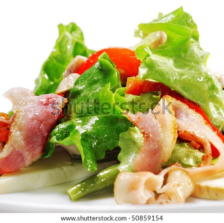 Salad with Thin Meat, Vegetable Leaf, Bean and Cheese. Isolated on White Background