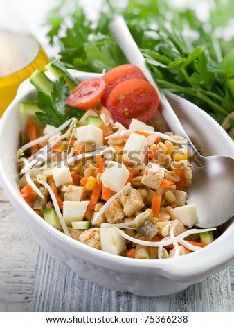 salad with tofu and vegetables - stock photo