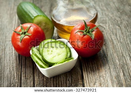salad with tomato and cucumber - stock photo