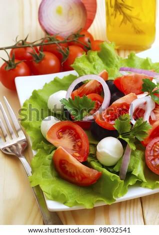 salad with tomato and mozzarella - stock photo