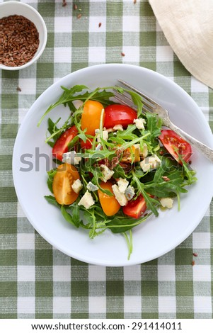 salad with tomatoes and cheese, top view