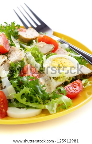 Salad with tomatoes and chicken on a white background. - stock photo