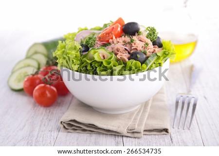 salad with tuna - stock photo