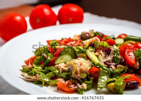 Salad with tuna and beans - stock photo