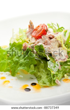 Salad with Tuna, Fresh Vegetables and French Mustard and Roast Potato Chips - stock photo