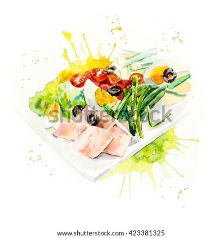 Salad with tuna. Menu. Food composition. Watercolor hand drawn illustration - stock photo