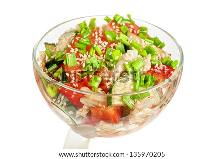 Salad with vegetable: pepper, tomato, cucumber and lettuce