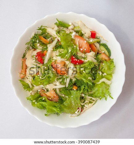 Salad with vegetables and cottage cheese - stock photo