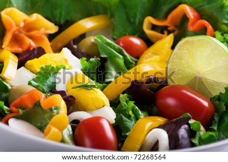 Salad with vegetables and eggs - stock photo