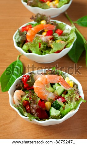 salad with vegetables and shrimps