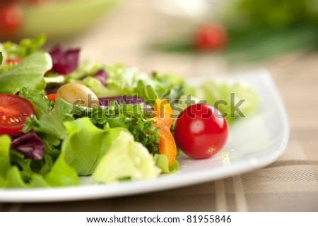 salad with vegetables closeup - stock photo