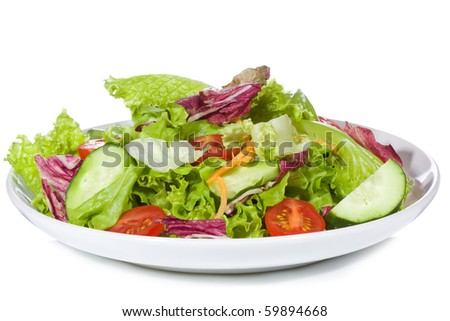Salad With Vegetables On White Background