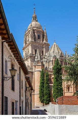Salamanca Cathedral belfry under blue sky. Spain - stock photo