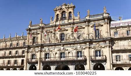 Salamanca City Hall is part of the Plaza Mayor built in Spanish baroque style between 1729 and 1755