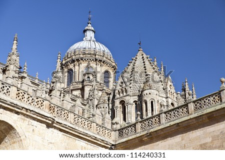 Salamanca Old and New Cathedrals - stock photo