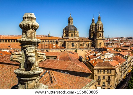 Salamanca pontifical University shot from the cathedral roof. - stock photo