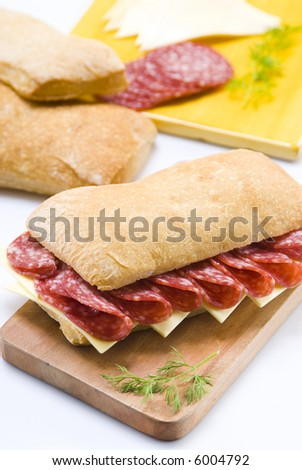 salami and cheese sandwich still life