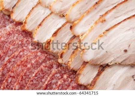 Salami and ham sliced in thin pieces, closeup