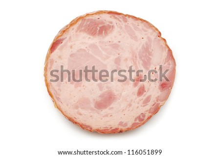 salami ham slice on white - stock photo
