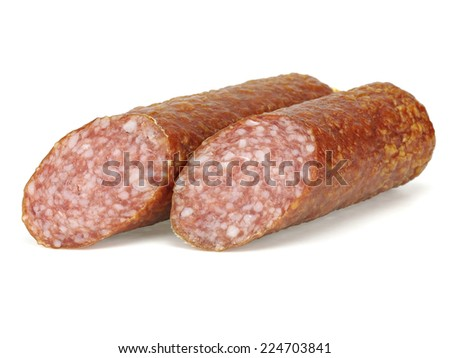 Salami on a white background  - stock photo