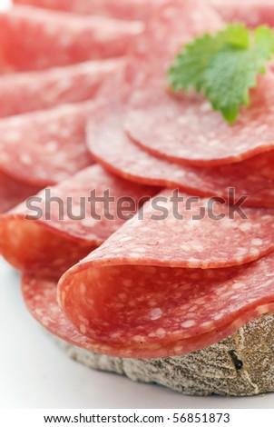 Salami on Bread - stock photo