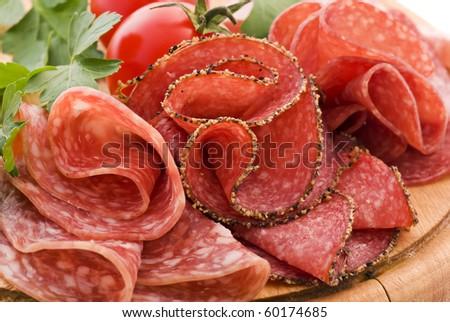 Salami on Cutting Board - stock photo