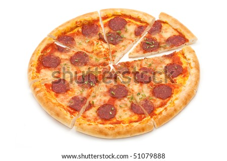 salami pizza isolated on white - stock photo