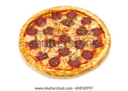 salami pizza isolated on white - stock photo