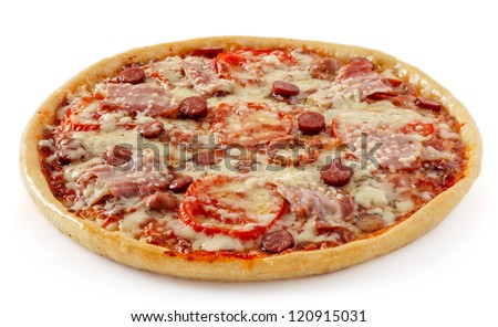 Salami pizza with tomatoes and sausages - stock photo