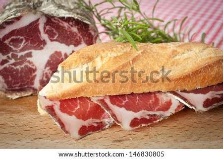 Salami sandwich - stock photo