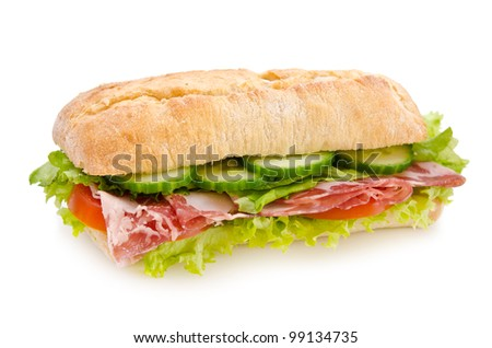 Salami sandwich isolated in white