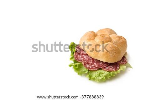 Salami Sandwich, Italian Food - stock photo