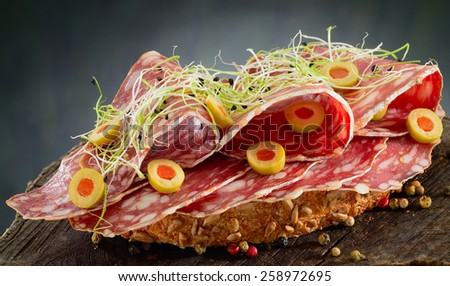 Salami sandwich. Open sandwich of salami slices on whole grain bread garnished with filled olives and leek sprouts. - stock photo