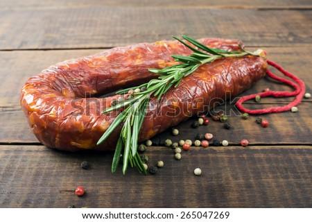 Salami sausage - stock photo