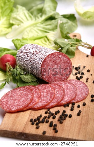 salami slices - stock photo