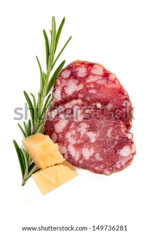 salami slices, parmesan cheese and rosemary isolated on white - stock photo