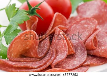 Salami with Tomato - stock photo