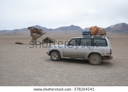 SALAR DE UYUNI, ARBOL DE PIEDRA, BOLIVIA - DECEMBER 08, 2008: Salar de Uyuni is largest salt flat in the World (UNESCO World Heritage Site) - Altiplano, Bolivia, South America. - stock photo