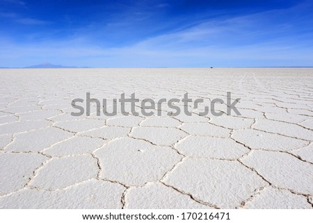 Salar de Uyuni, Bolivia, the largest salt flat in the world. - stock photo